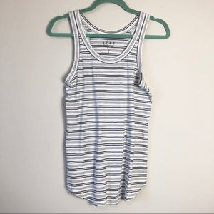 Loft Blue and White Striped Tank Top